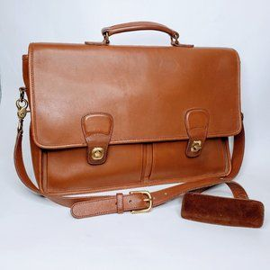 Coach Front Buckled Soft Briefcase Satchel Bag